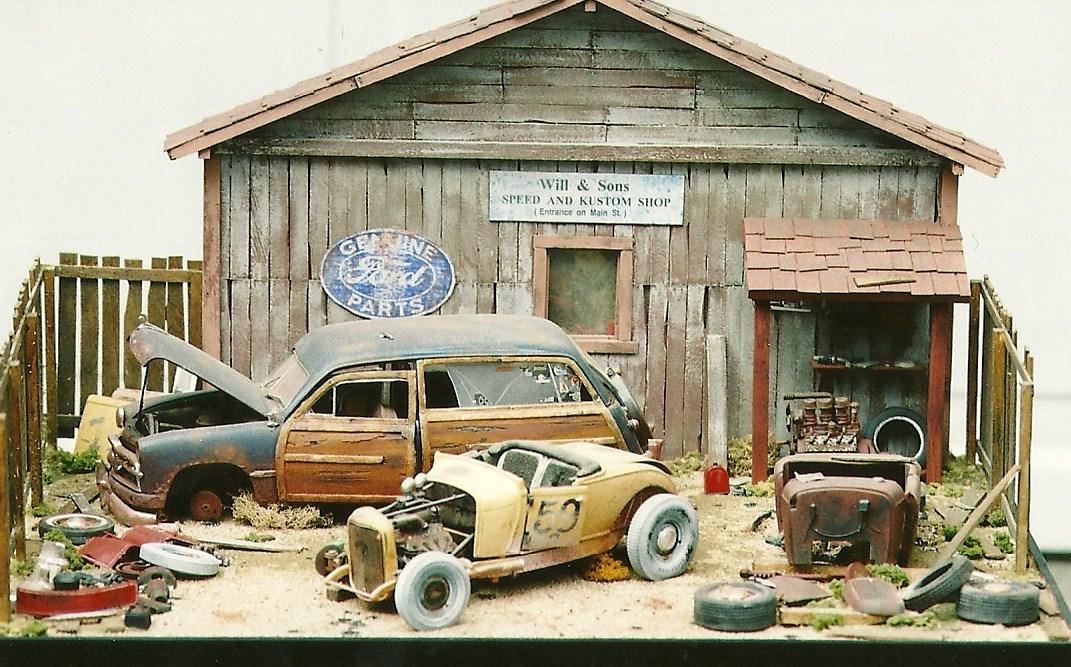 1 24 1 25 Barn Garage Diorama For Sale On Ebay: Diorama Garage 1 18.1:18 Jon's Autoyard Diorama Overall